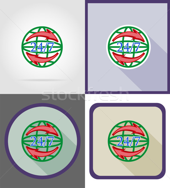 Símbolo entrega mundial relógio ícones vetor Foto stock © konturvid