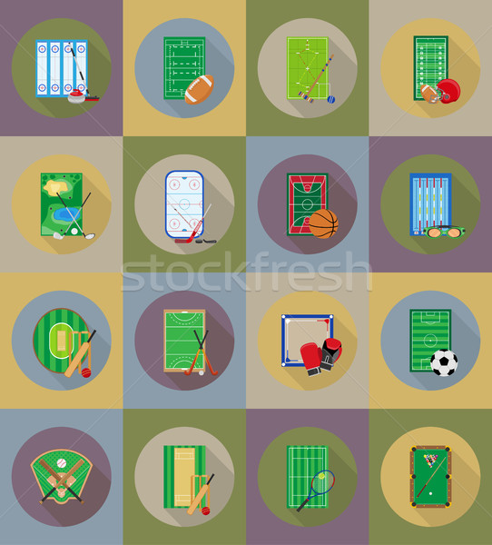 Stock photo: court playground stadium and field for sports games flat icons v