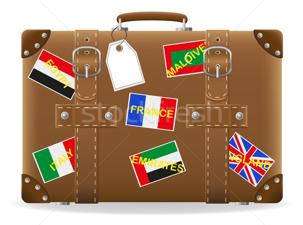 old suitcase for travel and label vector illustration Stock photo © konturvid