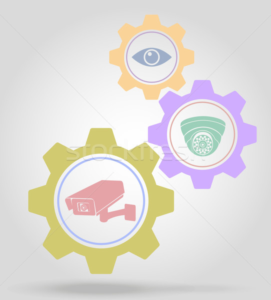 video surveillance gear mechanism concept vector illustration Stock photo © konturvid