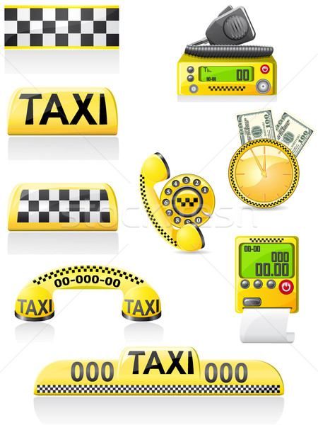 icons are symbols of taxi Stock photo © konturvid