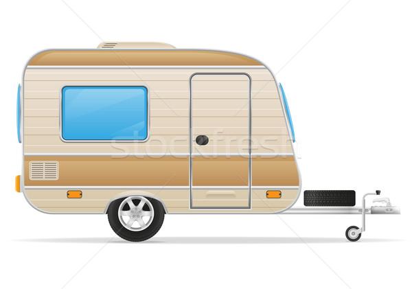 Caravan home geïsoleerd witte auto achtergrond Stockfoto © konturvid