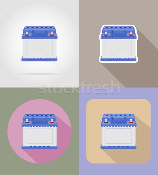 car battery flat icons vector illustration isolated on backgroun Stock photo © konturvid