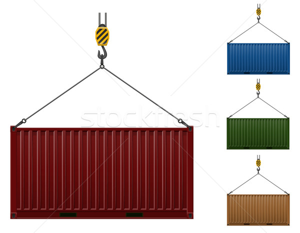 container hanging on the hook of a crane vector illustration Stock photo © konturvid