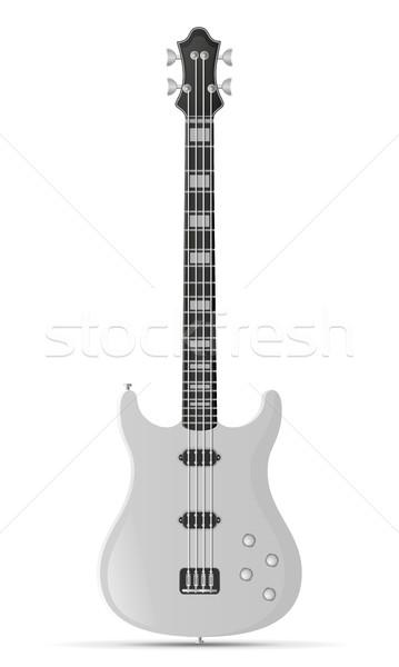 Elektromos basszus gitár stock izolált fehér Stock fotó © konturvid