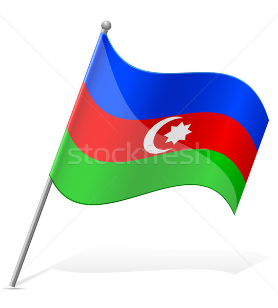 Zászló Azerbajdzsán izolált fehér világ Föld Stock fotó © konturvid
