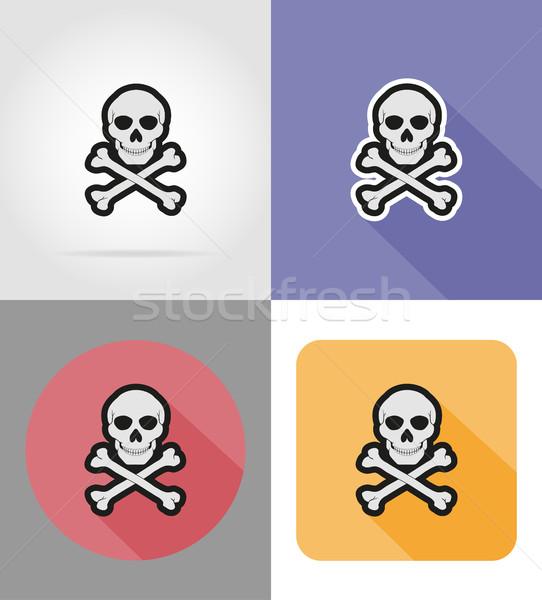 skull and crossbones flat icons vector illustration Stock photo © konturvid