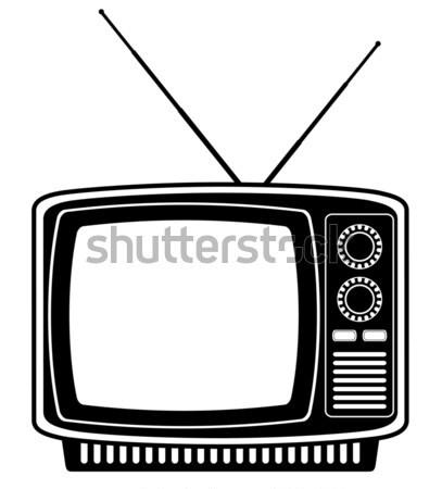 Telewizja starych retro vintage ikona czas Zdjęcia stock © konturvid