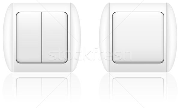 électriques interrupteur de lumière isolé blanche maison fond Photo stock © konturvid
