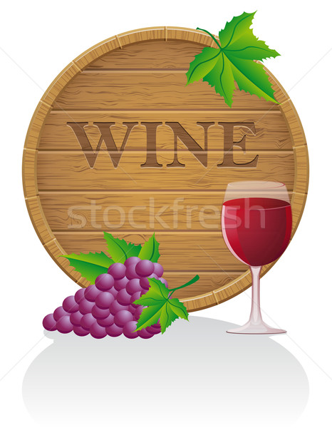wooden wine barrel and glass vector illustration EPS10 Stock photo © konturvid