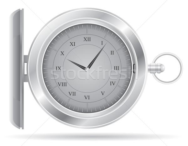 Reloj de bolsillo aislado blanco mano tecnología vidrio Foto stock © konturvid