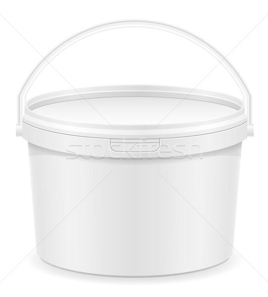Branco plástico balde pintar isolado fundo Foto stock © konturvid