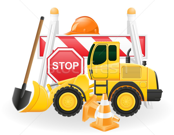 Stock photo: road works concept icons vector illustration