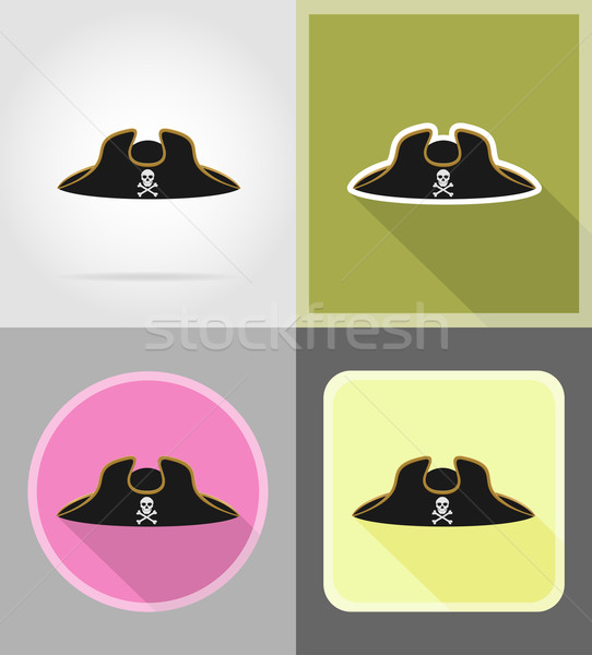 pirate hat tricorn flat icons vector illustration Stock photo © konturvid