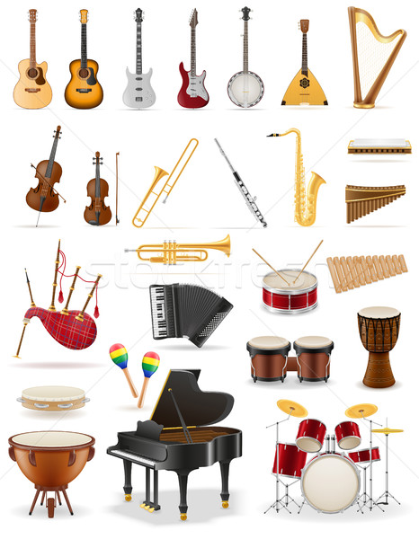 musical instruments set icons stock vector illustration Stock photo © konturvid