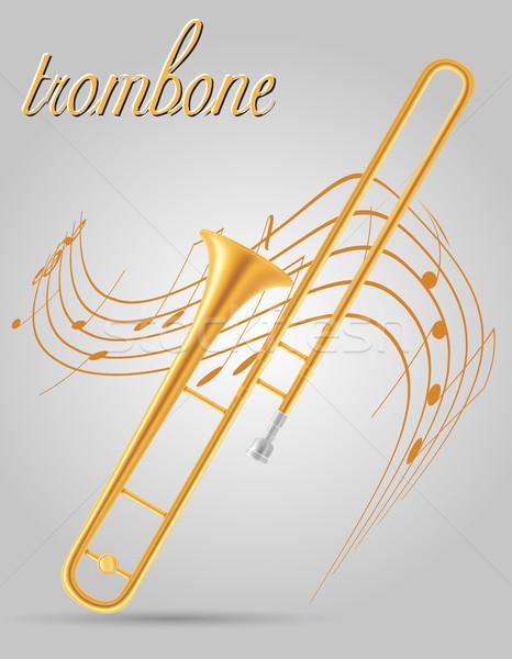 Szél hangszerek stock izolált szürke zene Stock fotó © konturvid