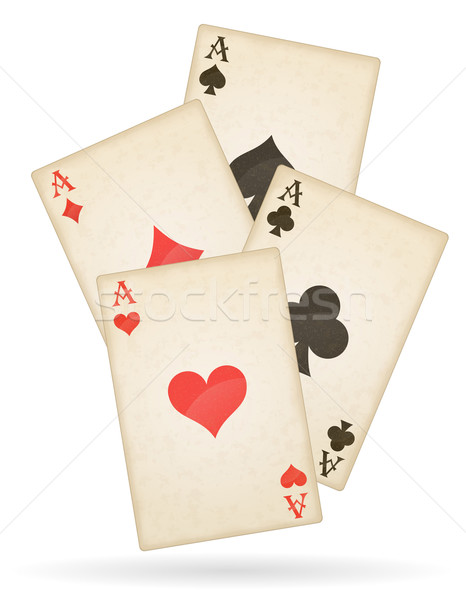 playing cards aces of different suits old retro vector illustrat Stock photo © konturvid