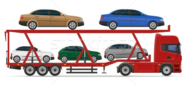truck semi trailer for transportation of car concept vector illu Stock photo © konturvid