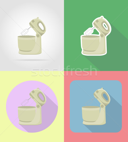 mixer household appliances for kitchen flat icons vector illustr Stock photo © konturvid
