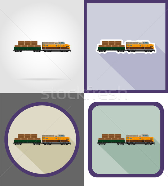 delivery by rail train flat icons vector illustration Stock photo © konturvid