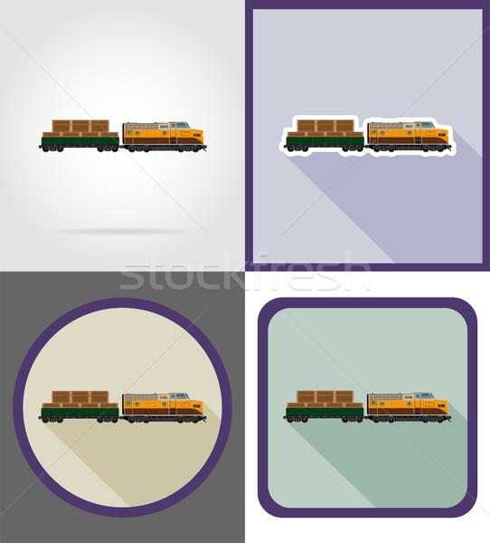 Entrega rail tren iconos aislado diseno Foto stock © konturvid