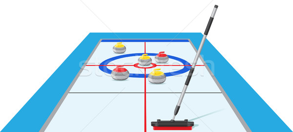 curling sport game vector illustration Stock photo © konturvid