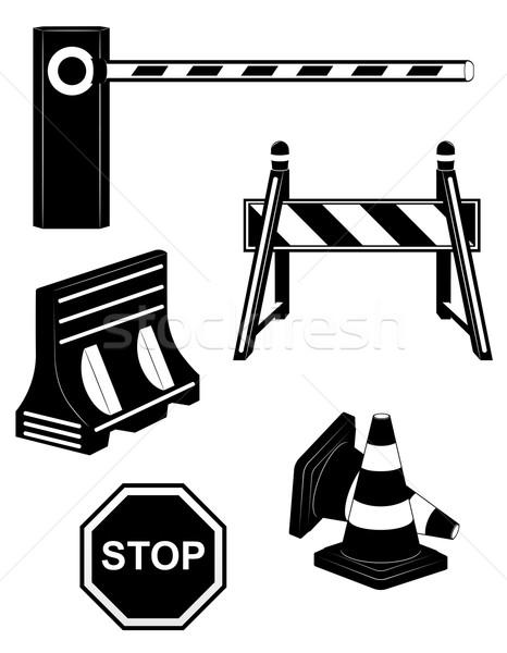 set icons road barrier black silhouette vector illustration Stock photo © konturvid