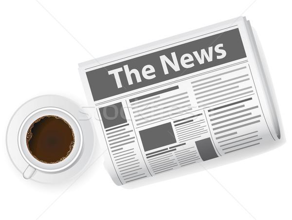 Kubek kawy gazety wiadomości Kafejka wydruku Zdjęcia stock © konturvid