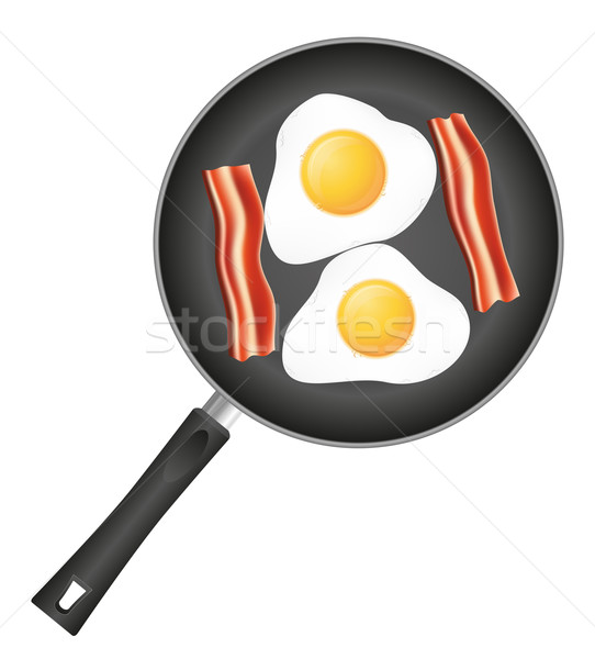 fried eggs with bacon in a frying pan vector illustration Stock photo © konturvid