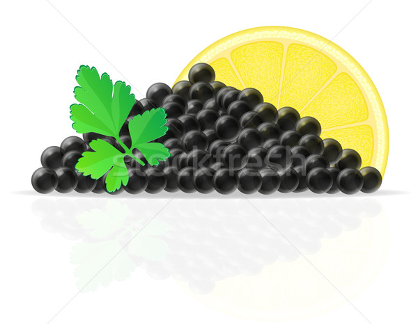 black caviar with lemon and parsley vector illustration Stock photo © konturvid