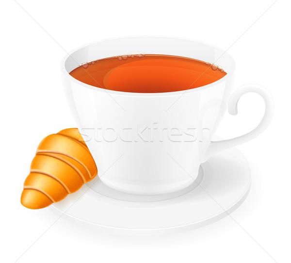 Porcellana Cup cornetto isolato bianco caffè Foto d'archivio © konturvid