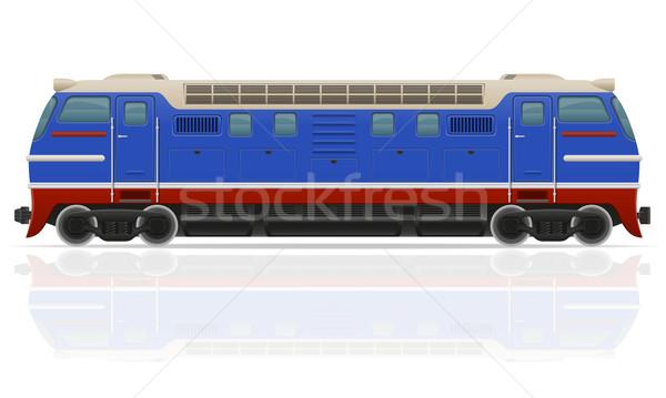 Ferrovia locomotiva trem isolado branco estrada Foto stock © konturvid