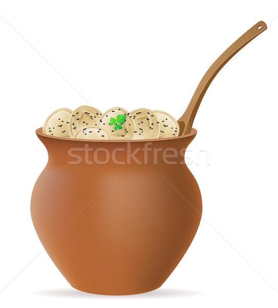 dumplings pelmeni of dough with a filling and greens in clay pot Stock photo © konturvid