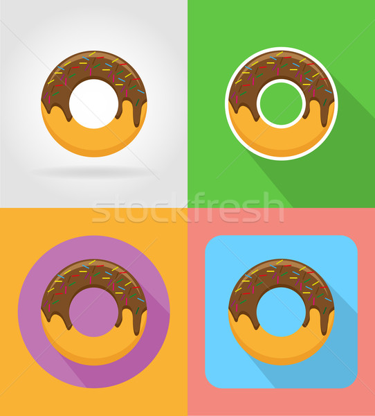 donut fast food flat icons with the shadow vector illustration Stock photo © konturvid