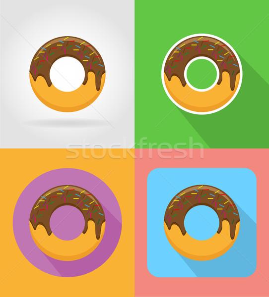 Donut fast food iconen schaduw geïsoleerd voedsel Stockfoto © konturvid