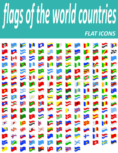 set flags of the world countries flat icons vector illustration Stock photo © konturvid