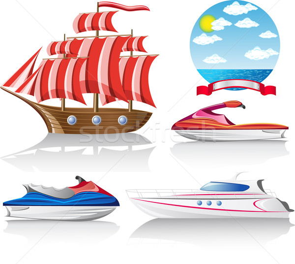 set of icons marine transport Stock photo © konturvid