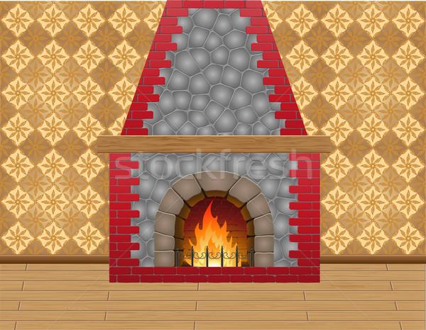 fireplace in the room Stock photo © konturvid