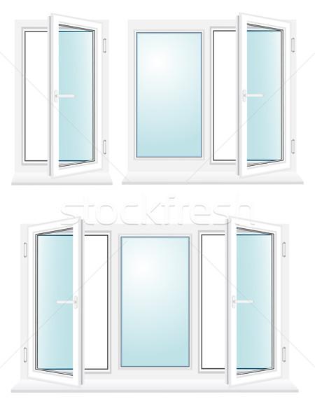 open plastic glass window vector illustration Stock photo © konturvid