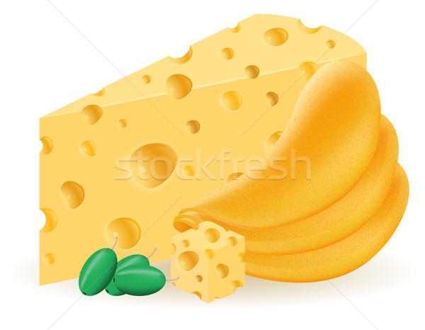 Foto stock: Batatas · fritas · queijo · isolado · branco · natureza · fruto