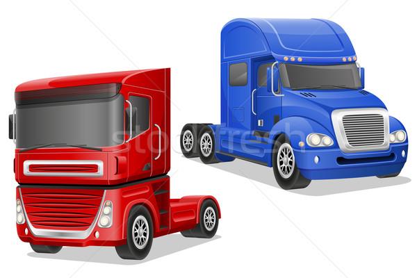 big blue and red trucks vector illustration Stock photo © konturvid