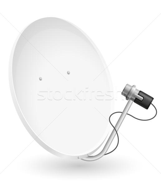 Schotelantenne geïsoleerd witte telefoon radio industrie Stockfoto © konturvid