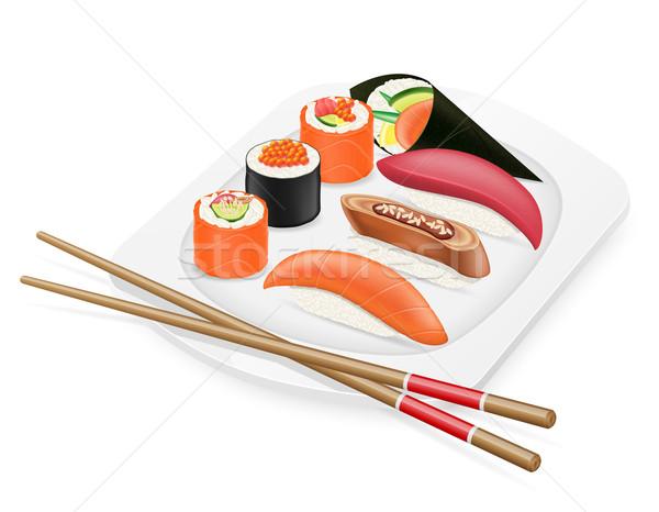 diverse set of sushi with chopsticks on a plate vector illustrat Stock photo © konturvid
