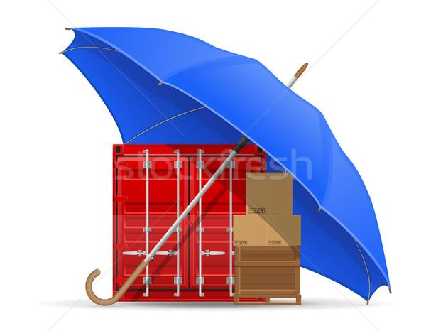 Beschermd verzekerd vracht paraplu vector geïsoleerd Stockfoto © konturvid