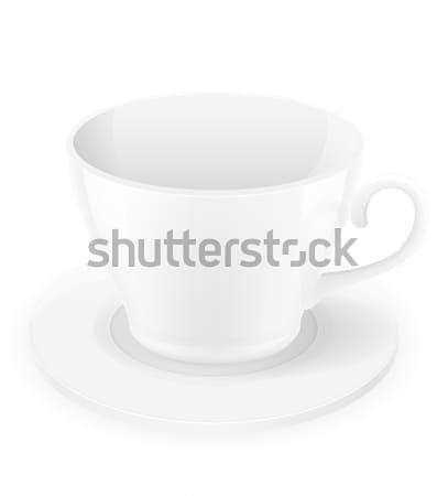 Porcelana kubek spodek odizolowany biały kawy Zdjęcia stock © konturvid