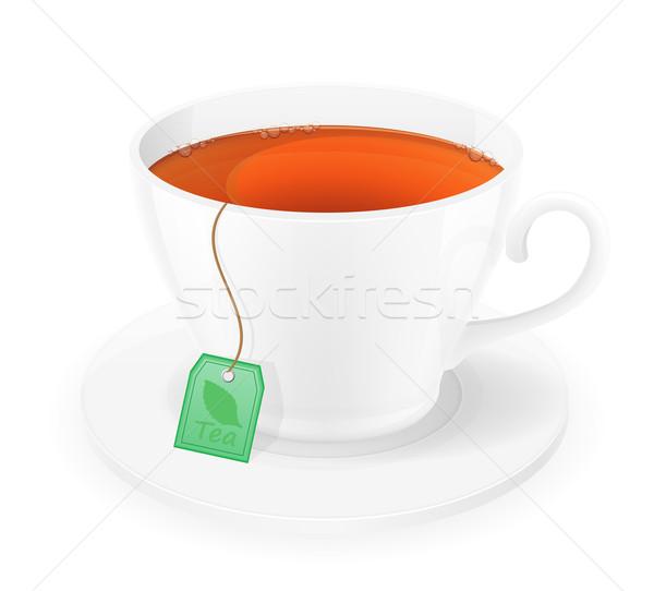 Porcellana Cup tè pacchetto corda isolato Foto d'archivio © konturvid