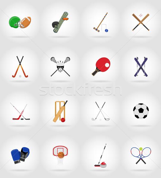 sport equipment flat icons illustration Stock photo © konturvid
