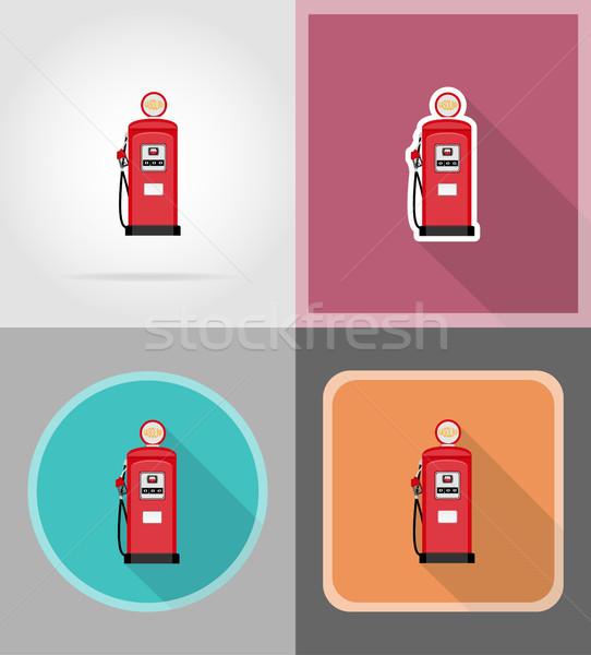 Rojo gasolina relleno iconos aislado negocios Foto stock © konturvid