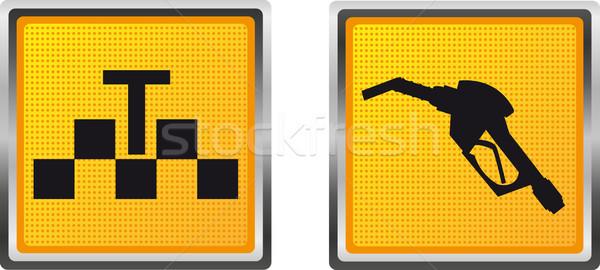 Ikonok taxi megtankol terv izolált fehér Stock fotó © konturvid