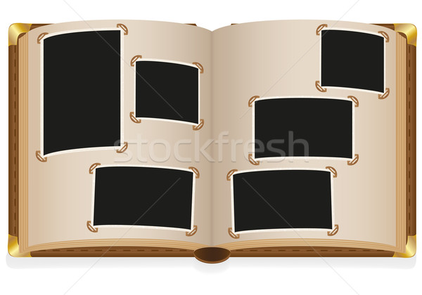 old open photo album with blank photos vector illustration Stock photo © konturvid
